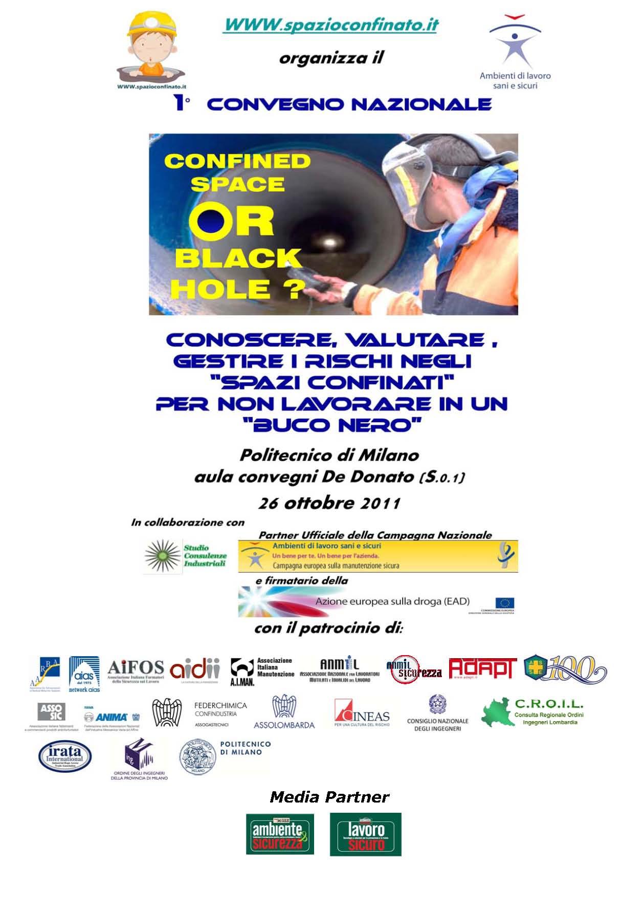 A Milano il Primo Convegno Nazionale sulle Attività negli Spazi Confinati