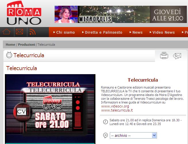 """SABATO 12 MARZO 2011 ALLE ORE 21 ANDRA' IN ONDA """"TELECURRICULA"""" SU ROMA UNO TV"""