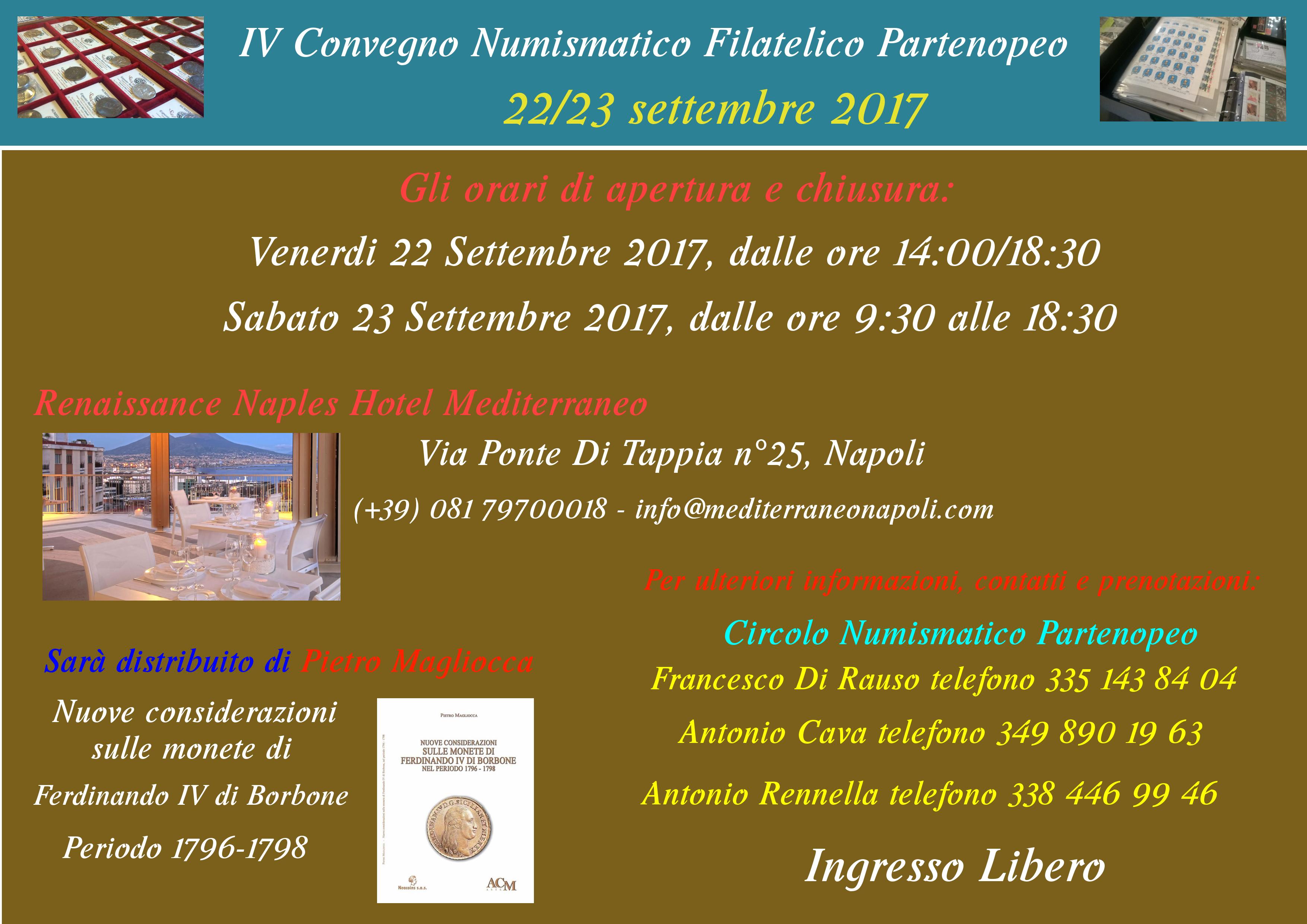 IV Convegno numismatico e filatelico partenopeo - 22/23 settembre 2017