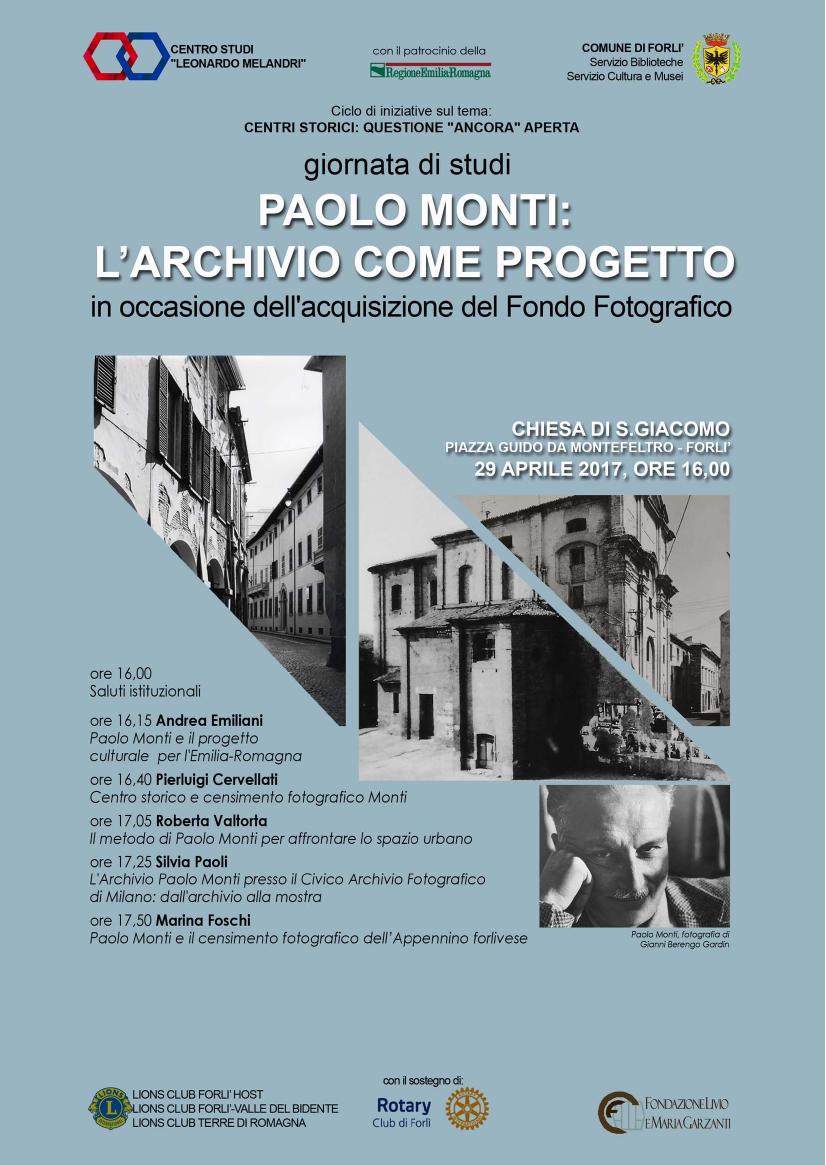 """Forlì, ex Chiesa di San Giacomo. Giornata di Studi """"Paolo Monti: l'archivio come progetto"""""""