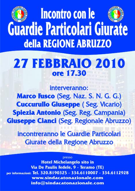 Il Sindacato Nazionale Guardie Giurate incontra le Guardie Giurate di Pescara il 23 Febbraio