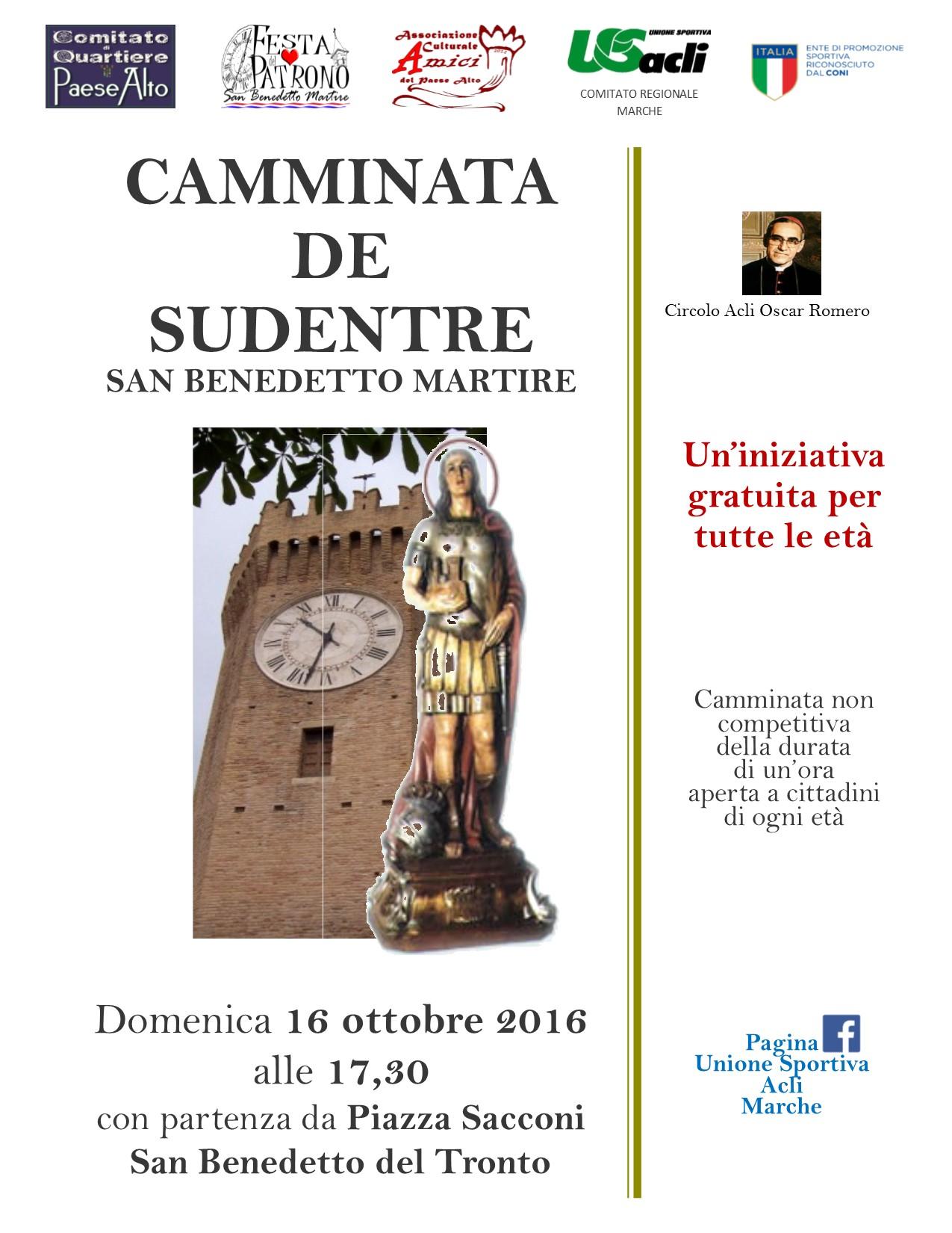 """Il 16 ottobre la """"Camminata per San Benedetto Martire"""""""
