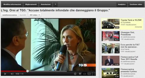 """Ing. Giuseppe Orsi, Presidente e AD di Finmeccanica, ai microfoni del TG5: """"Accuse totalmente infondate che danneggiano il Gruppo"""""""