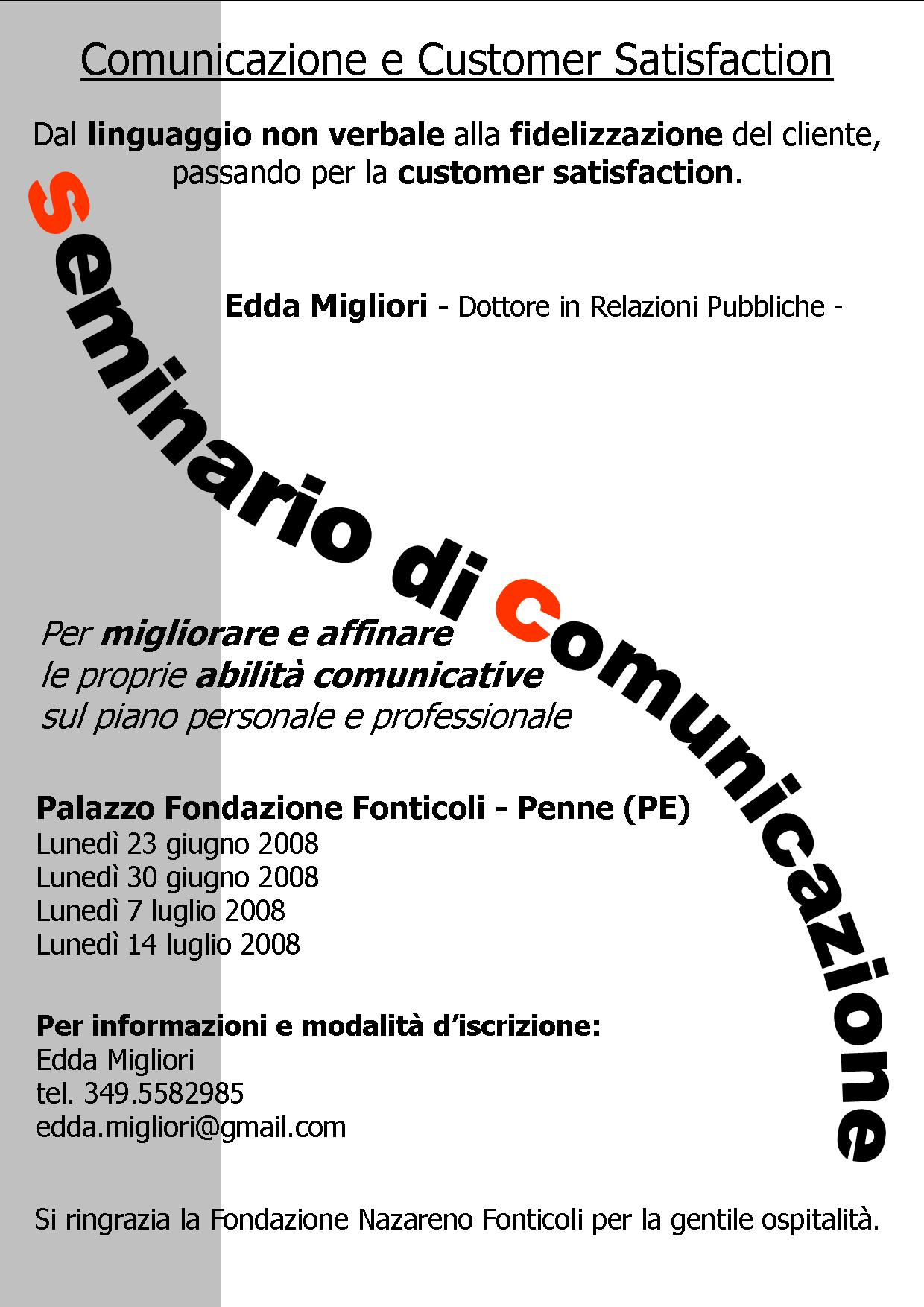 Seminario di COMUNICAZIONE e CUSTOMER SATISFACTION