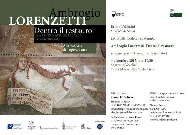 """Siena, Capitale Italiana della Cultura 2015, celebra Ambrogio Lorenzetti con """"Dentro il restauro"""""""