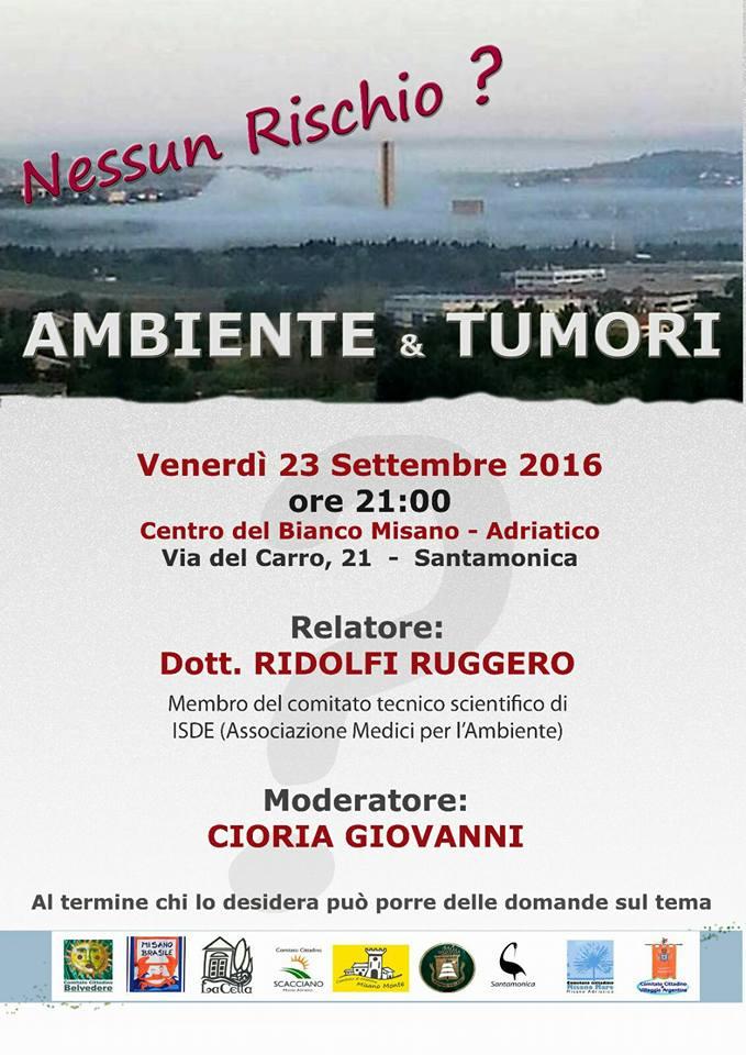 Al Centro Sociale Del Bianco, in Via Del Carro a Misano A. (RN) incontro con il dott. Rodolfo Ruggieri su AMBIENTE & TUMORI