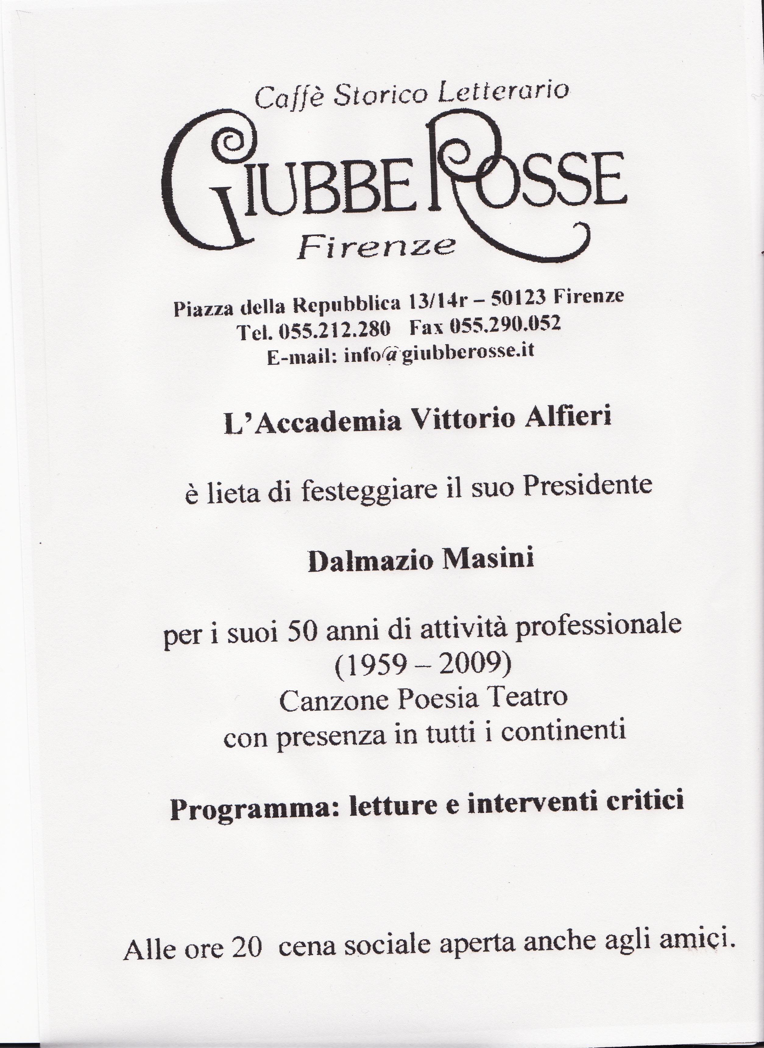 Firenze. Evento al caffè letterario GIUBBE ROSSE: Dalmazio Masini, 50 anni di cultura
